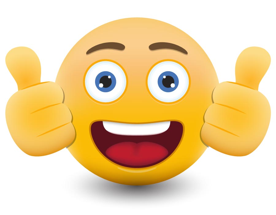 Smiley emoticon with two thumbs up